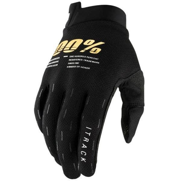 100% iTrack Protective Gloves - Black