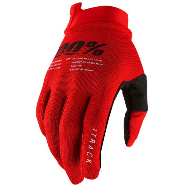 100% iTrack Protective Gloves - Red