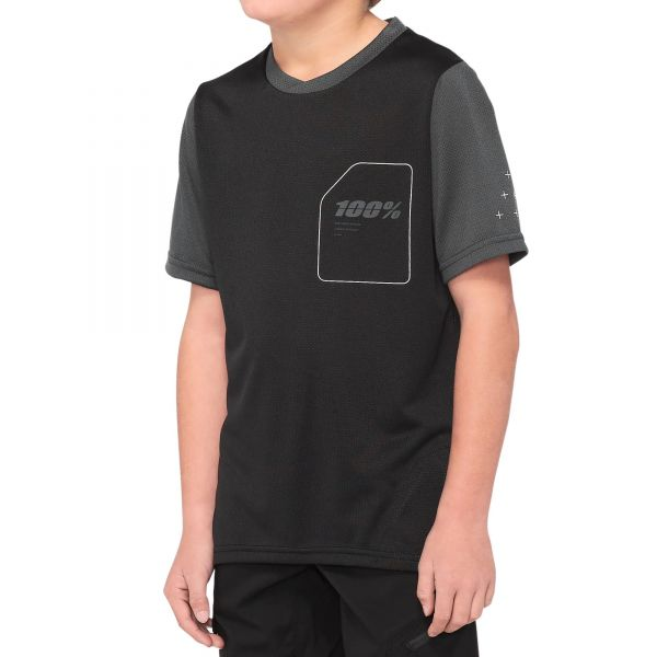 100% Ridecamp Youth Jersey - Black/Charcoal