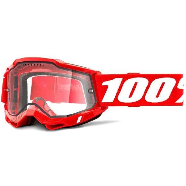100% Accuri 2 Enduro MTB Goggles - Red (Clear Lens)