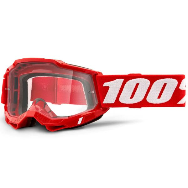 100% Accuri 2 MTB/MX Goggles - Red (Clear Lens)