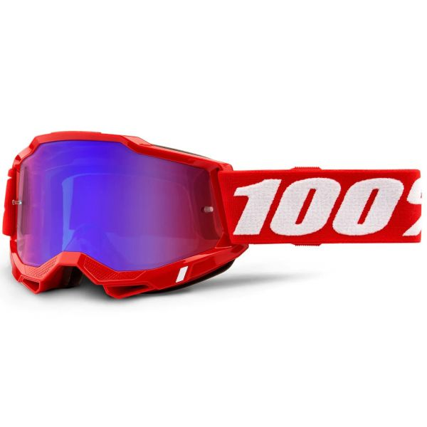 100% Accuri 2 MTB/MX Goggles - Red (Mirror Red/Blue Lens)