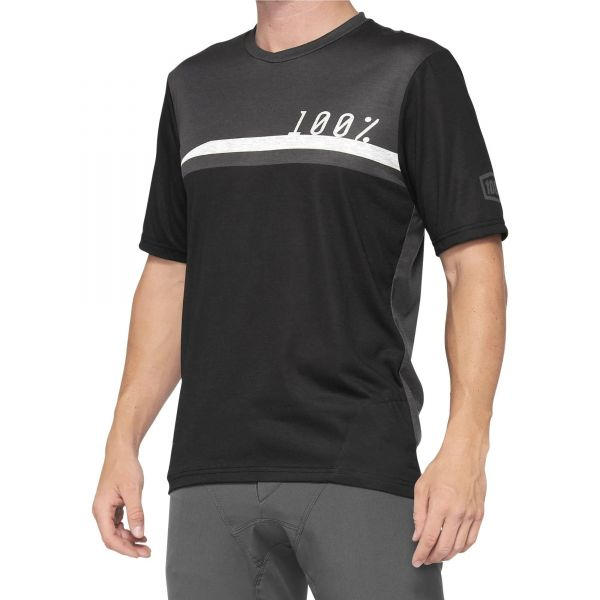 100% Airmatic Short Sleeve Jersey - Black/Charcoal