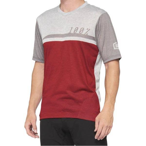 100% Airmatic Jersey - Cherry/Grey