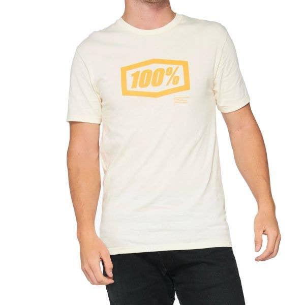 100% Essential T Shirt - Chalk/Orange