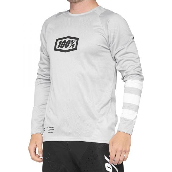 100% R-Core Youth Long Sleeve Jersey - Vapour/White
