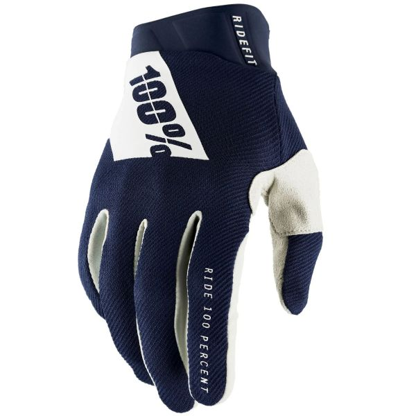 100% Ridefit Protective Gloves - Navy/White