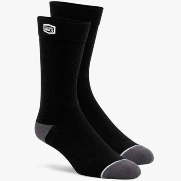 100% Solid Casual Socks - Black LRG/XL