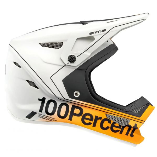 100% Status Full Face Downhill/BMX Helmet - Carby/Silver