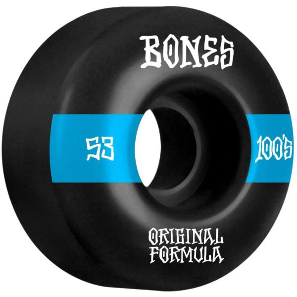 Bones OG 100'S #14 V4 Wide Skateboard Wheels - Black 53mm