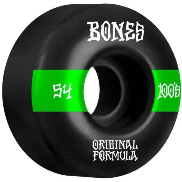 Bones OG 100'S #14 V4 Wide Skateboard Wheels - Black 54mm
