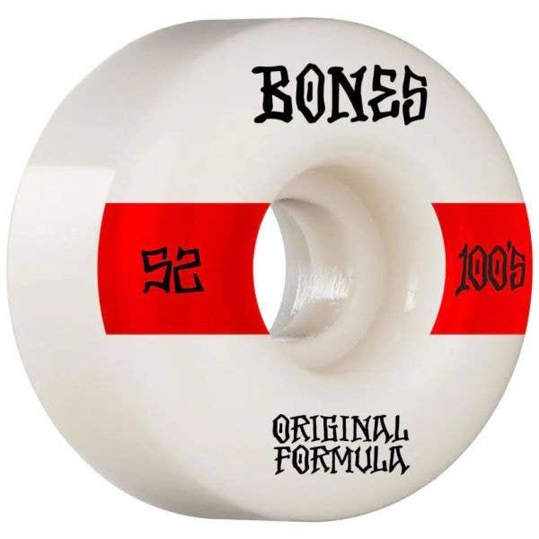 Bones OG 100'S #14 V4 Wide Skateboard Wheels - White 52mm