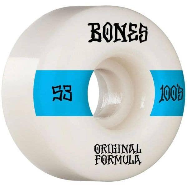 Bones OG 100'S #14 V4 Wide Skateboard Wheels - White 53mm