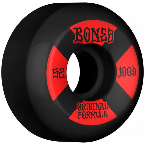 Bones OG 100's #4 V5 Sidecut Skateboard Wheels - Black 52mm