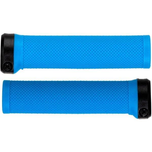 Brand-X Knurled Lock On Mountain Bike Grips - Blue