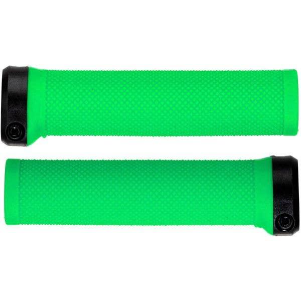Brand-X Knurled Lock On Mountain Bike Grips - Green
