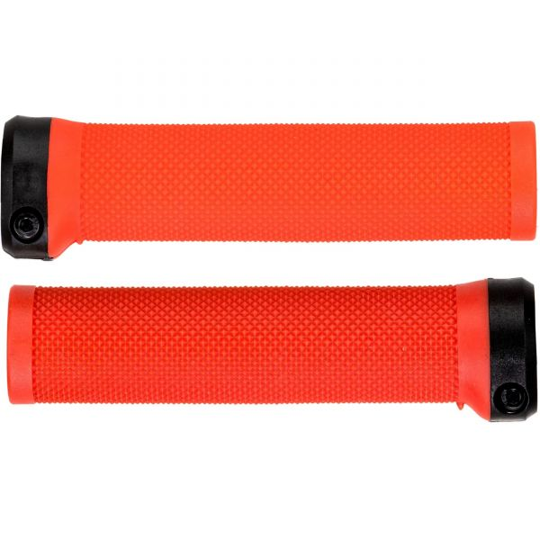 Brand-X Knurled Lock On Mountain Bike Grips - Red