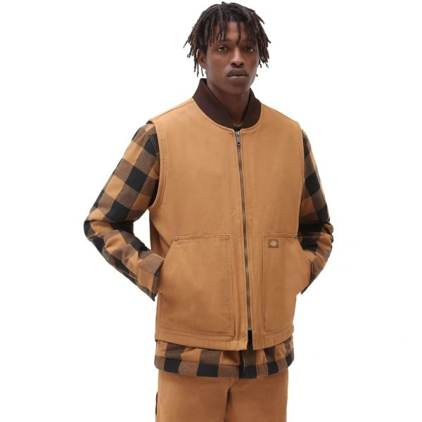 Dickies Duck Canvas Vest Jacket - Brown Duck SML