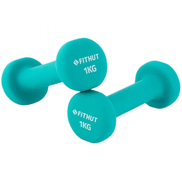 FitHut Twin Pack 1kg Dumbell - Teal