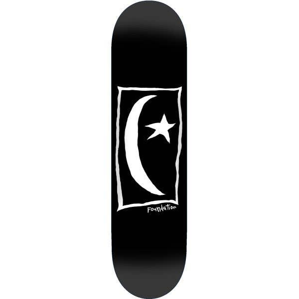 Foundation Star & Moon Square Skateboard Deck - Black 8.25''