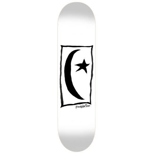 Foundation Star & Moon Square Skateboard Deck - White 8.5''