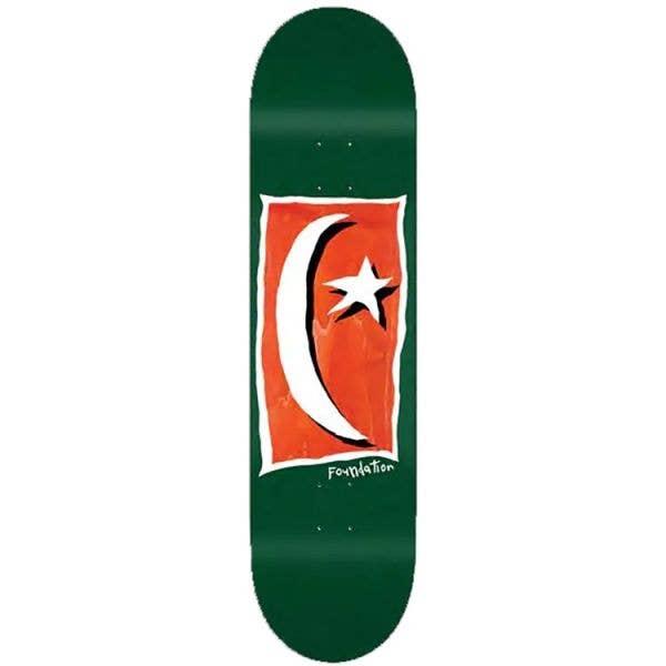 Foundation Star & Moon Square V2 Skateboard Deck - Green 8.13''