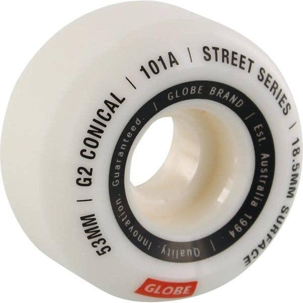 Globe G2 Conical Street Skateboard Wheels - White/Essential 53mm