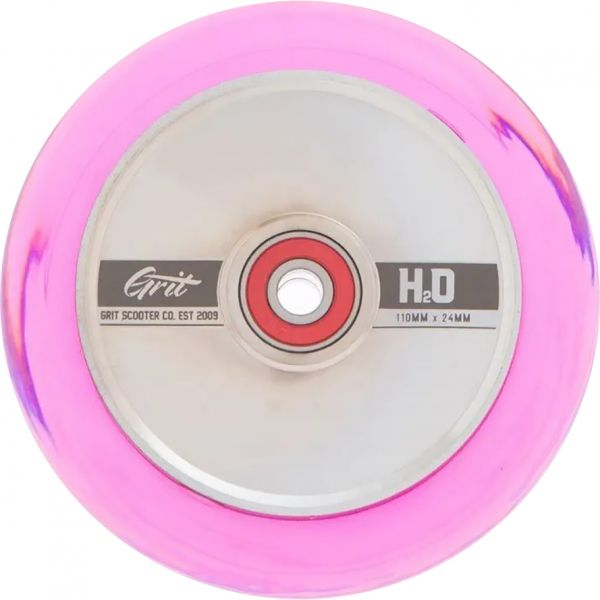 Grit H20 Hollow Core Scooter Wheel 110mm - Silver/Pink
