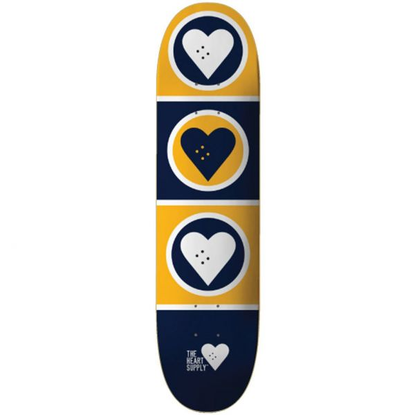 The Heart Supply Squad Skateboard Deck - Blue/Yellow 7.75''