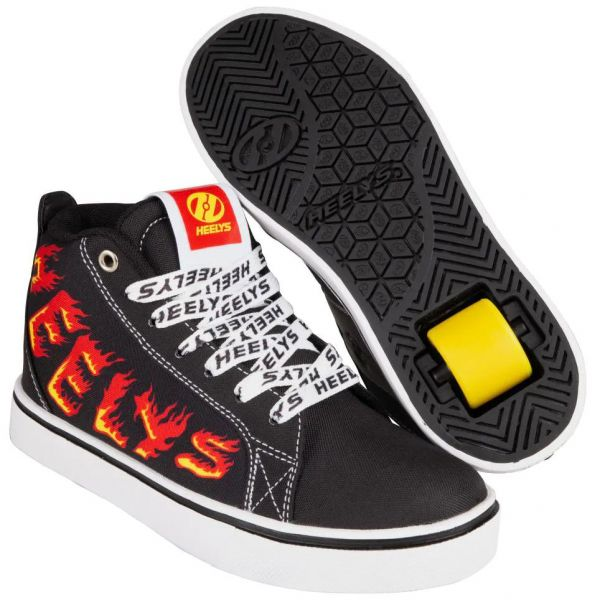 Heelys Racer 20 Mid - Black/White/Red/Yellow Flame