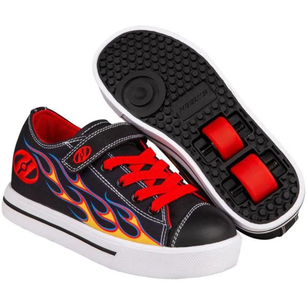 Heelys Snazzy X2 - Black/Yellow/Red Flame
