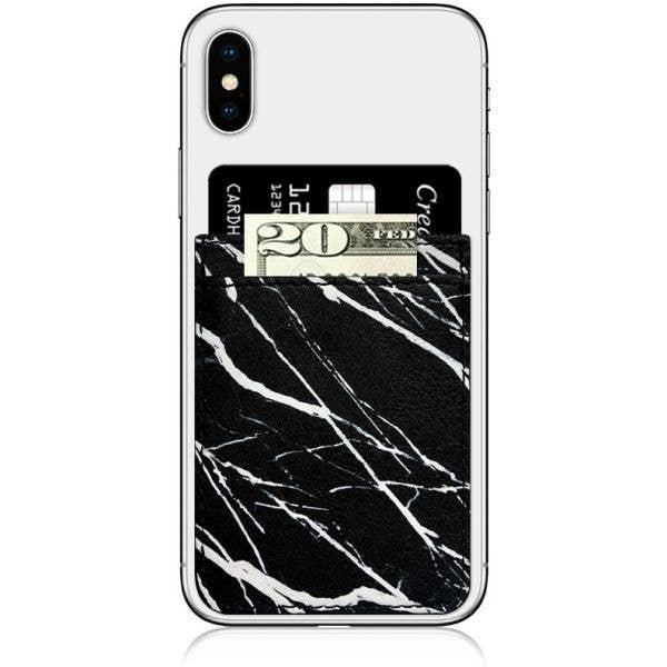 IDecoz Faux Leather Phone Pocket - Black Marble
