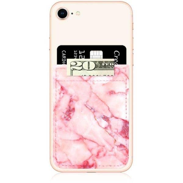 IDecoz Faux Leather Phone Pocket - Blush Marble