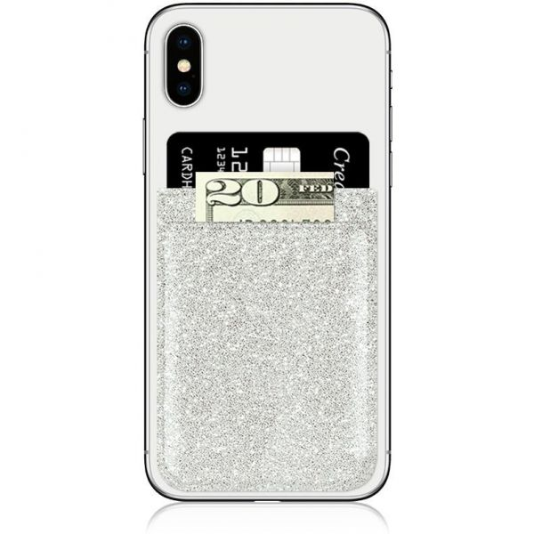 IDecoz Faux Leather Phone Pocket - Silver Glitter