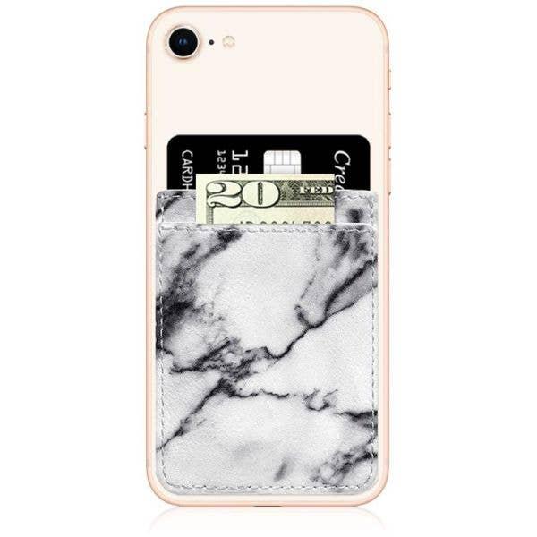 IDecoz Faux Leather Phone Pocket - White Marble