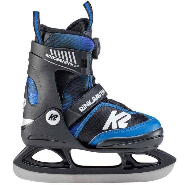 K2 Rink Raven Boa Adjustable Ice Skates - Black/Blue SML