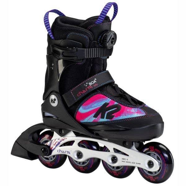 K2 Charm Boa Alu Adjustable Inline Skates - Black/Purple