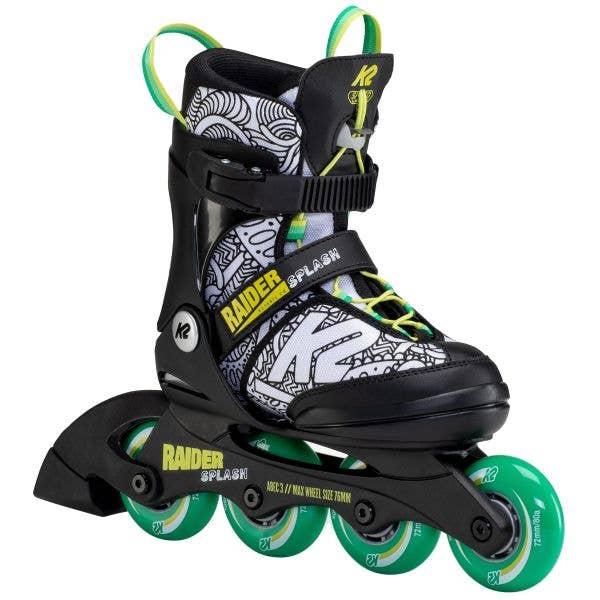 K2 Raider Splash Adjustable Inline Skates - Black/Green