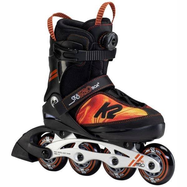 K2 Sk8 Hero Boa Alu Adjustable Inline Skates - Black/Orange