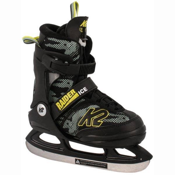 K2 Raider Ice Adjustable Ice Skates - Black/Yellow XSmall
