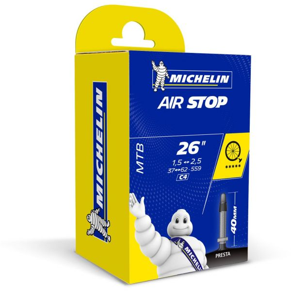 Michelin Airstop 26 (559mm) x 1.4 - 2.5 Presta (40mm) Inner Tube