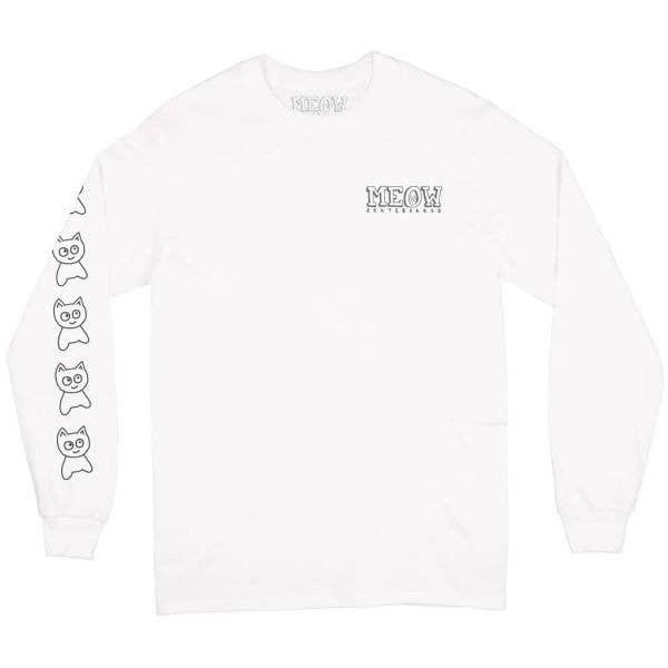 Meow Big Cat Long Sleeve T Shirt - White