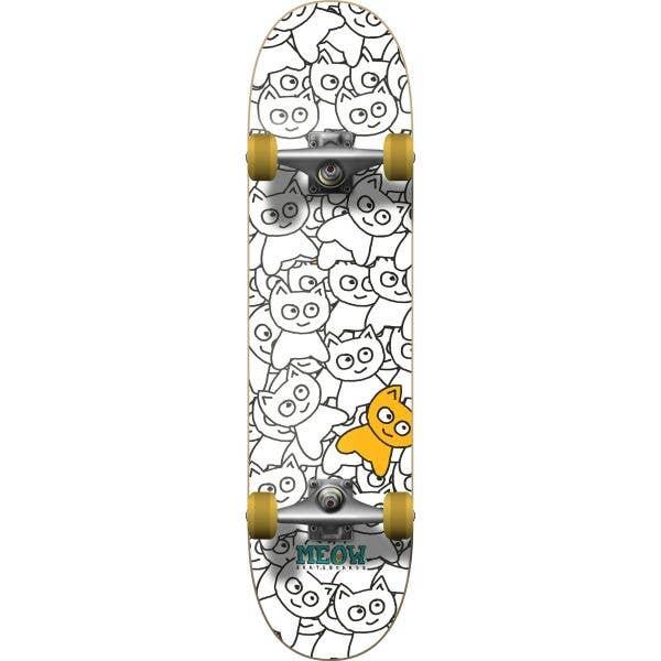 Meow Sticker Pile Complete Skateboard - White 8''