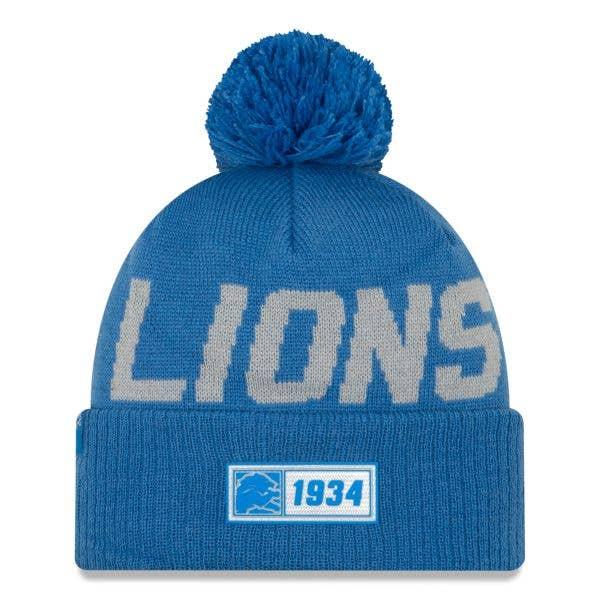 New Era Detroit Lions NFL 2019 Sideline Road Beanie - Rainstorm Blue