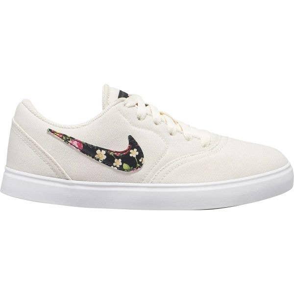 Nike SB Check Canvas VF Kids Skate Shoes - Pale Ivory/Black-Pink Tint-White