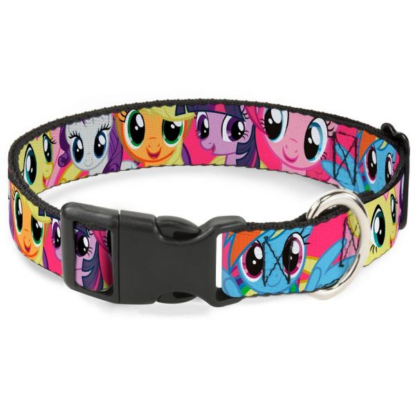Plastic Clip Collar -Ponies CLOSE-UP - L 15-26''