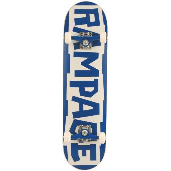 Rampage Block Logo Complete Skateboard - Blue/White 8''