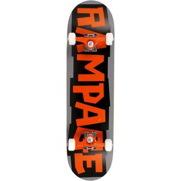 Rampage Block Logo Complete Skateboard - Orange/Grey 8''