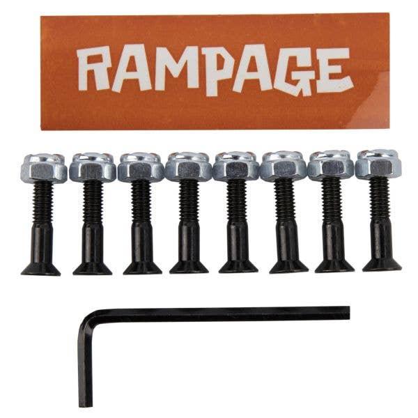 Rampage 1'' Skateboard Truck Bolts - Black/Silver