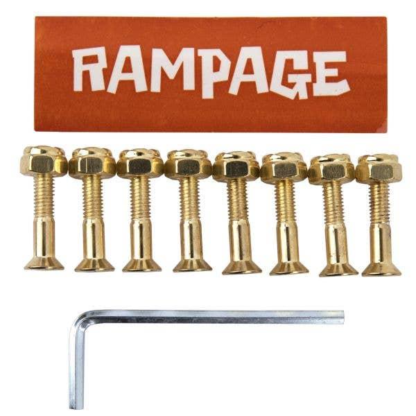 Rampage 1'' Skateboard Truck Bolts - Gold